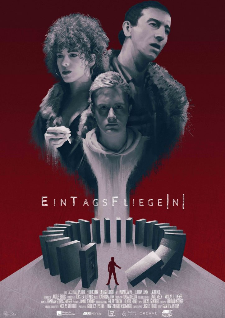 Filmposter of EinTagsFliege n . The three maincharacters on a red background.